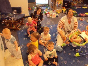 kids and instructors at nursery school